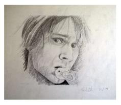 Retrato Kurt Cobain chupete