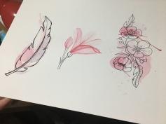Acuarela y tinta sobre papel