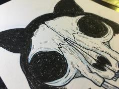 Tinta y cera sobre papel